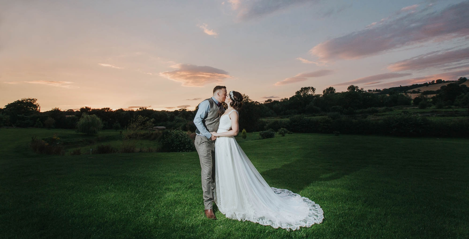 yorkshire wedding barn photographer | bride and groom in the sunset